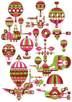Matt Lyon, C86, illustration, pink, green, retro