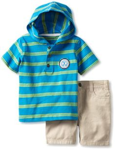 Calvin Klein Baby-Boys Infant Hooded Stripes Top with Shorts $17.00