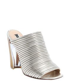 """Rachel Zoe   BLUEFLY up to 70% off designer brands, Color: Gold, • Mirrored leather upper, • Rounded open toe, • Strappy vamp; slip-on, • Leather lining, • Leather sole, • 4½"""" wooden block heel with metal accent, • All measurements are approximate, • Leather; style# 358587201, • Imported,"""