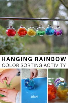 Put together a hanging rainbow sorting activity for preschoolers that will not only work on color recognition, but also fine motor skills. The final product creates a nice hanging decoration for your window!