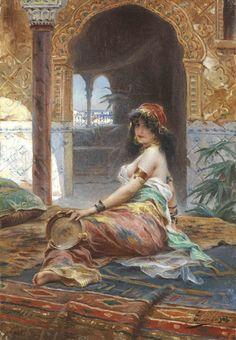 Henri Adrien Tanoux (1865-1923) Odalisque au tambourin