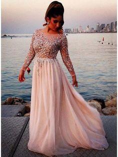 Scoop Neckline Sequins Beading Long Sleeves Evening Dress