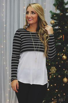 Sheer Chiffon Striped Long Sleeve Top – UOIOnline.com: Women's Clothing Boutique