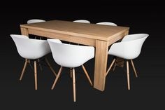 Letta 6 Seater Dining Room Table Dark wood LDF x x cm Brae White Dining Chair PP seat Beech wood legs with metal support x x cm