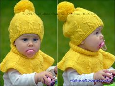 Knitting Pattern  Cable Crown Hat and Cowl Set by ViTalinaCraft