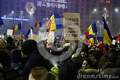 Photo about Protest against corruption and romanian government in Bucharest, Romania - placards with ironic lyrics for governors. Image of decree, conflict, citizens - 86801337