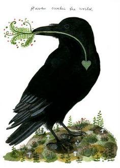 "Crows Ravens:  ""Raven Creates the World,"" by Diana Sudyka."