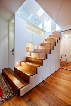 Glass Stairs Design, Wooden Staircase Design, Home Stairs Design, Wooden Staircases, Interior Stairs, House Design, Interior Exterior, Staircase Glass, Spiral Staircases