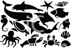 "This ""digital collage of sea life silhouettes"" clipart image can be licensed as part of a low-cost subscription service providing access to millions of royalty free clip art illustrations, clipart images, photos, web graphics and more. Free Clipart Images, Royalty Free Clipart, Silhouette Clip Art, Silhouette Design, Free Stencils, Stencil Designs, Free Prints, Beach Art, Printable Art"