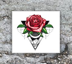 Red Rose Tattoo - Rose Temporary Tattoo - Floral Tattoo - Mountain Tattoo - A Pretty Red Rose For Love by OctaviaTattoo on Etsy