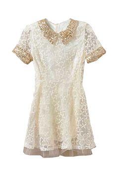 Paillette Collar Lace Beige Dress