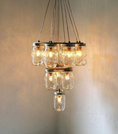 Mason Jar Chandelier - Mason Jar Lighting - 3 Tier Upside Down Wedding Cake - Handcrafted Upcycled BootsNGus Hanging Pendant Light Fixture. $325.00, via Etsy.