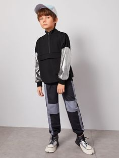 Boys Zip Half Placket Metallic Sleeve Pullover #Sponsored , #Ad, #Placket#Zip#Boys Classic Halloween Costumes, Bomber Jacket, Metallic, Normcore, Pullover, Zip, Sleeve, Jackets, Style