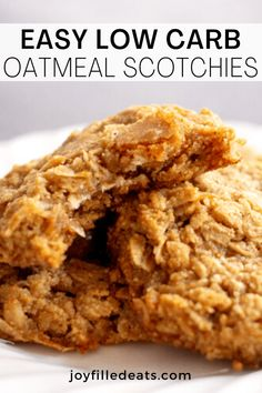 There is nothing more delicious than these Low Carb Oatmeal Cookies. With just 11 ingredients, these Oatmeal Scotchies are perfect for the holidays. They are keto, low carb, gluten-free, and grain-free. Sugar Free Oatmeal, Low Carb Oatmeal, Oatmeal Cookie Recipes, Oatmeal Chocolate Chip Cookies, Sugar Free Desserts, Low Carb Desserts, Carb Free Deserts, Best Low Carb Recipes