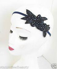 Navy Blue Black Beaded Flower Headpiece Headband Vintage Flapper 1920s 1930s M26 Vintage Updo, Vintage Headbands, Headbands For Women, Vintage Glamour, Vintage Ladies, Flower Headpiece, 1920s Flapper, 1930s, Navy Blue