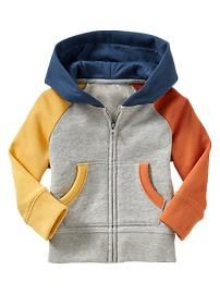 Colorblock raglan hoodie...I am going to try this for various grandchildren from old sweatshirts. Love the color blocking!
