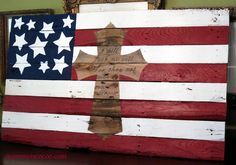 diy cross out of wood | American flag made out of pallet wood