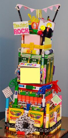 Teachers Appreciation School Supply Tower Cake : ) I covered the class photo and faces of my son and School Supplies Cake, College School Supplies, School Supplies Organization, Baby Supplies, Mini Pizzas, Disney Family, Teacher Appreciation Week, Teacher Gifts, Cotton Crafts