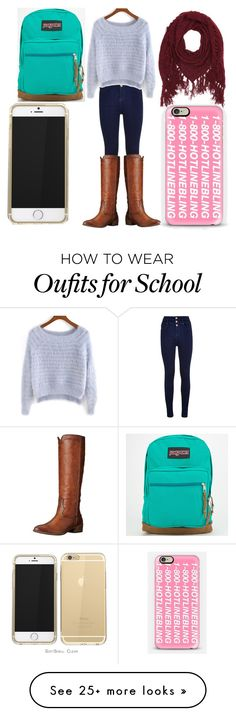 """Winter School Outfit"" by vsrdancer22 on Polyvore featuring JanSport, Frye, Charlotte Russe and Casetify"