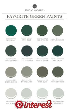 Studio McGee: Our Favorite Green Paints Shop Benjamin Moore Green Bay Hunt Club SW 6468 - Green Paint Color - Sherwin-Williams, Isle of Pines SW 6461 - Green Paint Color - Sherwin-Williams, Royal Orchard Studio Mcgee, Green Paint Colors, Wall Colors, House Colors, Green Gray Paint, Gray Color, Green And Gray, Green Shades Of Paint, Green Wall Color