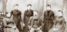 Ingalls family photo. L to R: Caroline, Carrie, Laura, Charles, Grace, Mary.