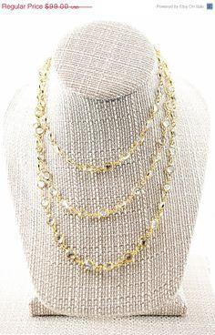 VACATION SALE Long Swarovski Channel Necklace in Gold 48 by true2u, $89.10