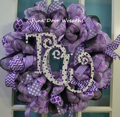 Made to Order  Wreath TEXAS CHRISTIAN by PinkDoorWreaths on Etsy, $55.00