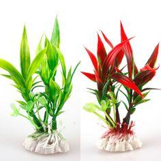 Set of 2 Aquarium Fish Reptile Ornament Plastic Lifelike Decorative Plant 1230