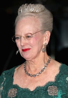 Queen Margrethe II of Denmark(wearing The Baden Palmette Tiara) arrives for a Gala Performance at the DR Concert Hall to celebrate 40 years on the throne at City Hall on Janu. Royal Crowns, Royal Tiaras, Tiaras And Crowns, Crown Princess Mary, Prince And Princess, Princess Louise, Queen Margrethe Ii, Danish Royalty, Hm The Queen