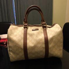 Spotted while shopping on Poshmark: authentic cream medium Gucci Boston bag! #poshmark #fashion #shopping #style #Gucci #Handbags