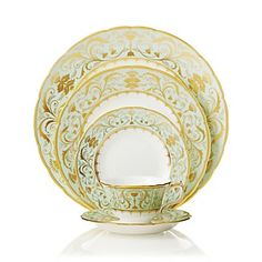 Darley Abbey captures the regency style of restrained simplicity using delicate lines and intricate curves representing twirling foliate and filigree leaves. The carefully placed ornamental elements combined with the gold glistening against the soft green Royal Crown Derby, Crown Royal, Wedding Gift Registry, Wedding Gifts, Wedding China, Chelsea Garden, Antique Tea Cups, China Patterns, Tea Pots