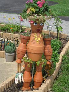 I am Working Here, Clay Pots, Terra Cotta Pots, Pot People, Garden Art, DIY                                    …