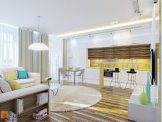 Кухня-гостиная в светлых тонах в квартире в ЖК «Шмитовский 16»