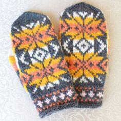 Nordic Fair Isle Hand Knit Hand Knitted Handmade Mittens Set Lot s M Women Girls   eBay