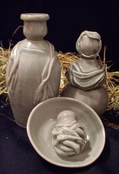Handmade porcelain nativity set