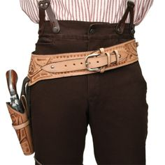 """Natural Tooled Leather """"Buscadero"""" style gun belt & holster"""