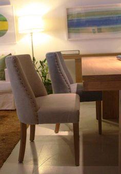 MARABIERTO - silla Biarritz tapizada en Azul Chambray o gris ceniza (algodón).