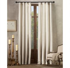 bedroom - Silk Taffeta Pavilion Stripe Drapery - we could customize with a greek key or decorative tape to make a bit more special.