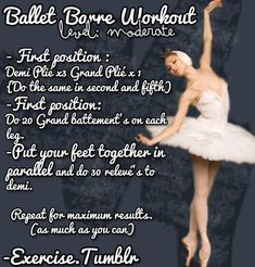 Ballet Barre workout with a tutorial and links to videos of the moves used in this workout. This is a great moderate ballet workout!