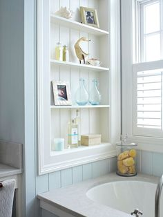 Bathroom Storage Solutions That Will Solve Your Space Problems - Open shelves employ the wasted wall space