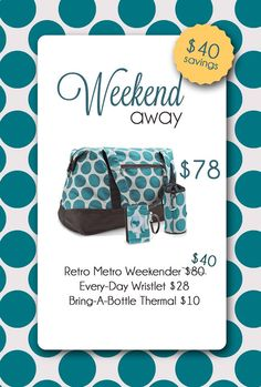 Retro Metro Weekender, Every-day Wristlet, and Bring a Bottle Thermal  grouping www.mythirtyone.com/lhartman