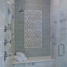 """would it make shower look bigger with this """"window""""?Master Bathroom Shower / Unique Tile Design Inset"""