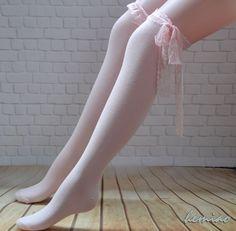 1-2PC Cute Sheer Knee Hi Under Knee Socks Stockings Ruffled Trim /& Bow Top SALE