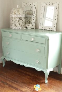 I have an antique dresser I've been meaning to paint, I love this colour!