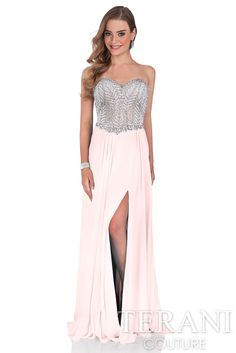 Sweetheart gown with crystal embellished bodice, corset style detail at the back and mesh A-line skirt