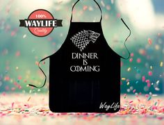 Mens Game of Thrones Aprons Dinner is Coming Kitchen by WayLife