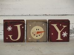 This JOY primitive wood snowman stacking block set will make a nice shelf sitter accent for your Christmas and winter holiday home décor. I have painted this set tan and barn red with black with black underneath the topcoat for more of a primitive look. Christmas Blocks, Christmas Wood Crafts, Rustic Christmas, Christmas Projects, Holiday Crafts, Christmas Decorations, Winter Wood Crafts, Christmas Ideas, Wood Decorations