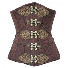 Long Brown Brocade Pattern Underbust with Brass Clasps