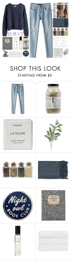 """so caught up in one another"" by beauty-from-ashes ❤ liked on Polyvore featuring MTWTFSS Weekday, Dr. Jackson's, Byredo, Pier 1 Imports, Surya, Thomaspaul, Eight & Bob, Christy and Royal Selangor"