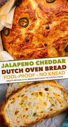 Jalapeno Cheddar Dutch Oven Bread is perfectly crusty on the outside, with a soft fluffy inside, and is made using simple ingredients. Deliciously savory with a bit of spice - perfect with a pat of butter, or for grilled cheese! #bread #homemade #dutchoven #baking #jalapeno #cheddar #pantry #noknead #baked #artisan
